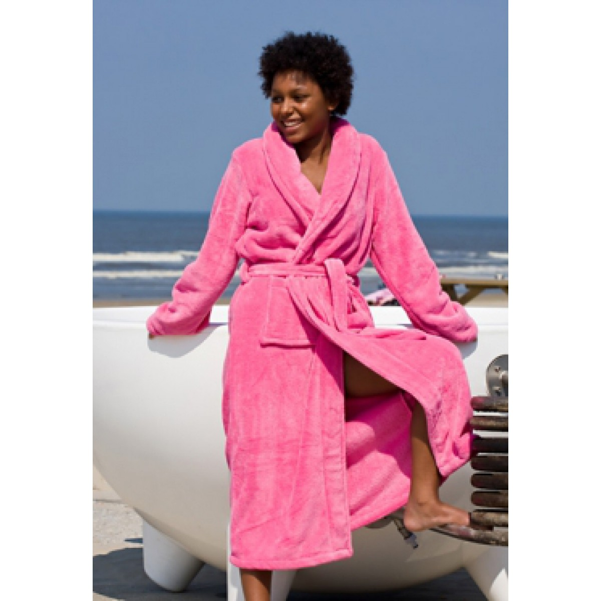 Damen-bademantel rosa