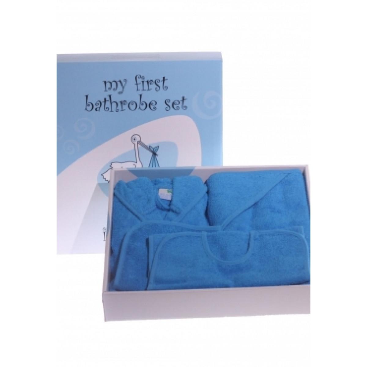 Blauer bademantel baby