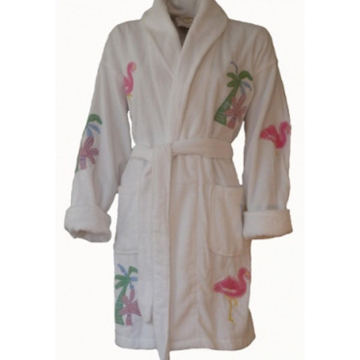 Damenbademantel Palmen & Flamingos
