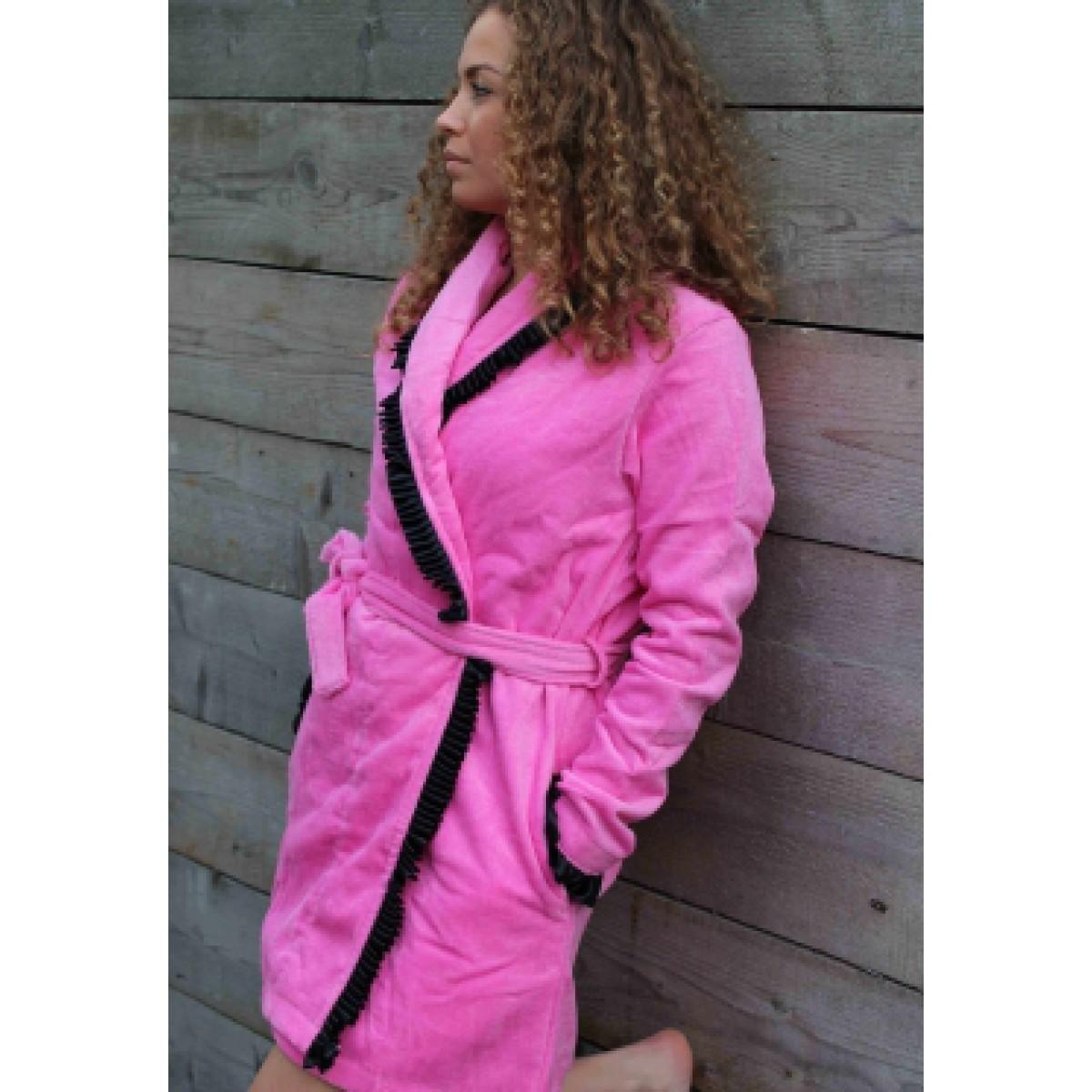 Rosa Damenbademantel mit Seide