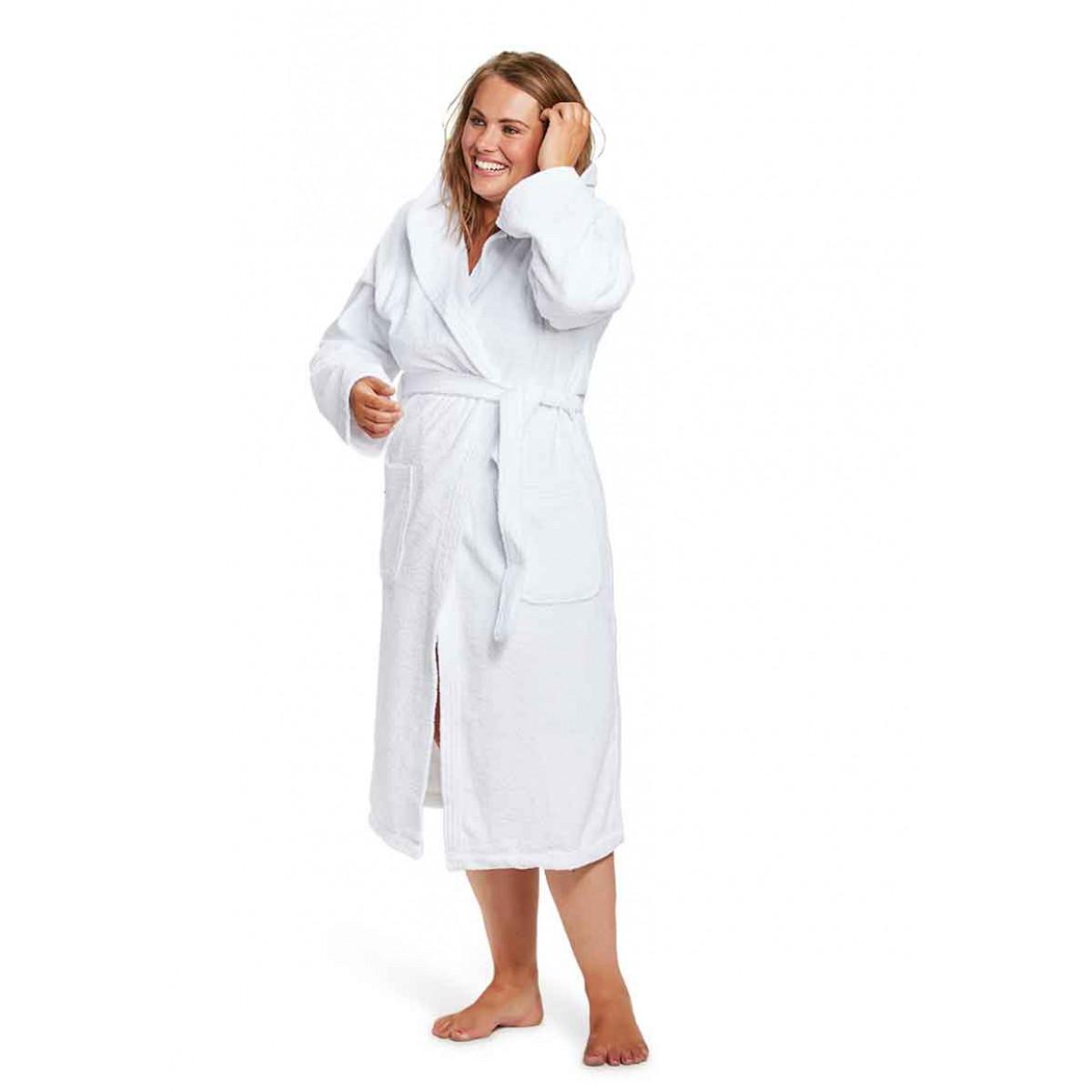 Weißer Bademantel Damen mit Kapuze