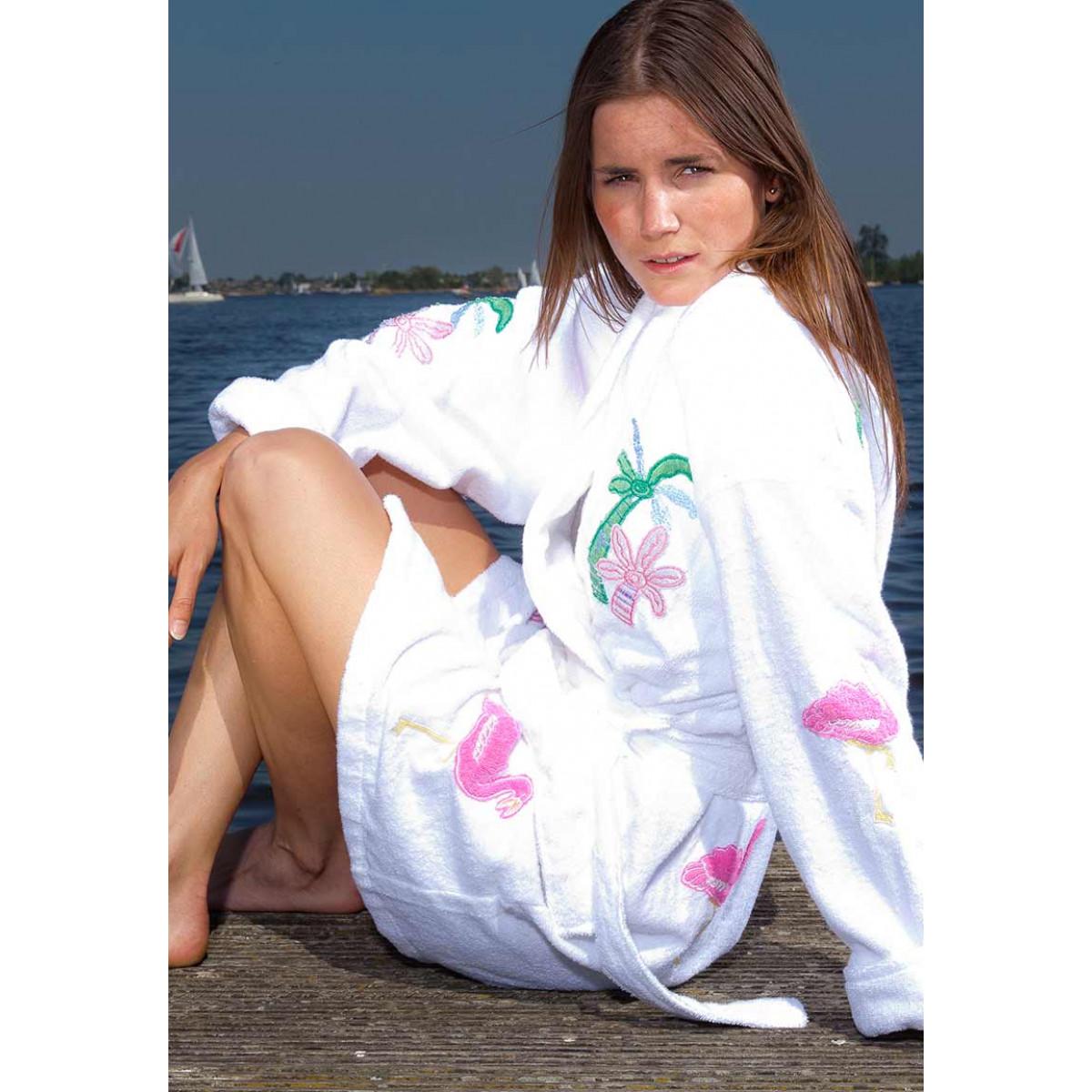 Damen Bademantel Flamingos