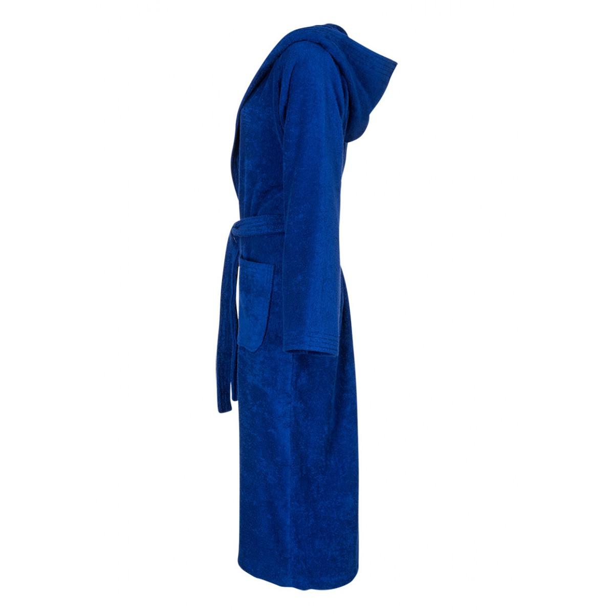 Kobaltblauer Saunbademantel mit Kapuze