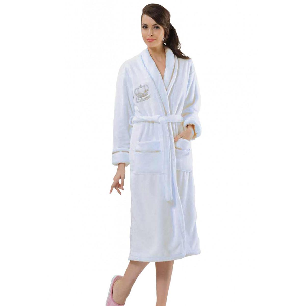 weiße Damenbademantel