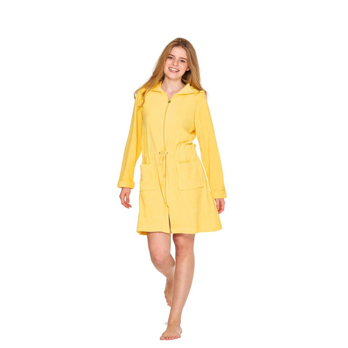 Gelber Damenbademäntel mit Reißverschluss