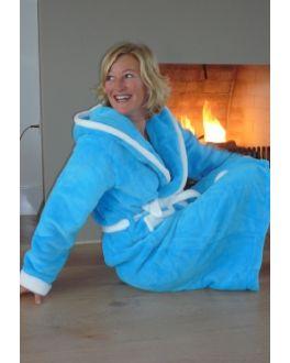 Aquablauer Damenbademantel mit Kapuze