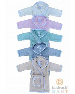 Babybademantel Frottee-Baumwolle – mit Kapuze – 5 Farben