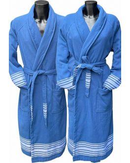 Blauer Hamam Bademantel für die Sauna