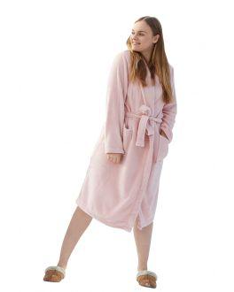 Fleece Damenbademantel Altrosa