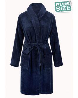 Große Größen Fleece-Bademantel - dunkelblau