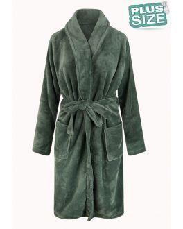 Große Größen Fleece-Bademantel – olivgrün