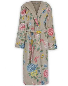 Khaki Damen Bademantel mit Blumen – Pip Studio